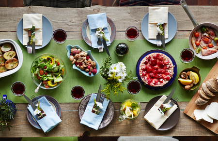 holiday food: Variety of organic food on festive table served for holiday
