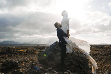 honeymoon: Romantic couple spending honeymoon in Iceland