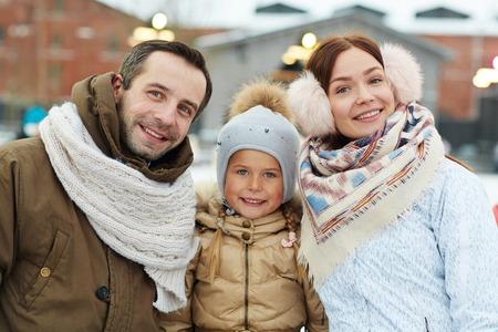 winterwear: Family in winterwear Stock Photo