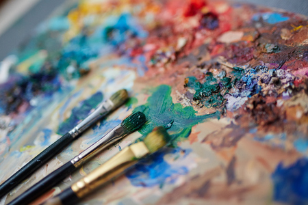 painting art: Colors of palette Stock Photo