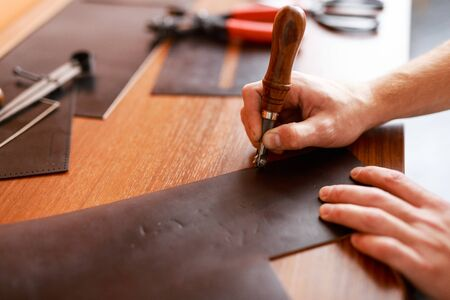 upholsterer: Job of tanner Stock Photo