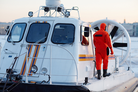 hovercraft: Professional rescue worker Stock Photo