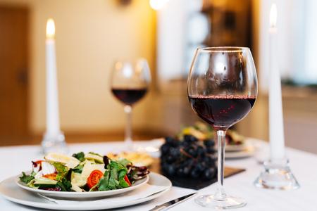Salad and wine Stock Photo