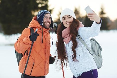 adventurers: Selfie of ski adventurers