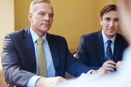 men talking: Confident employer Stock Photo