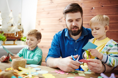 Creative little boys in art class Stock Photo