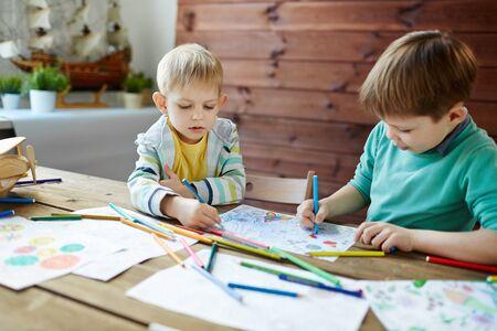 little boys: Two little boys in art class