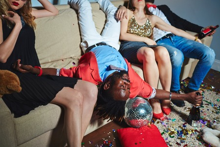 tipsy: Friends relaxing after wild party