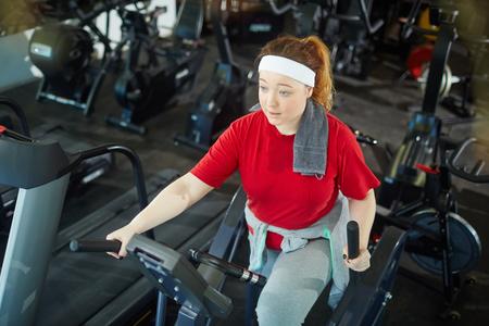 Cute Fat Girl Exercising Stok Fotoğraf