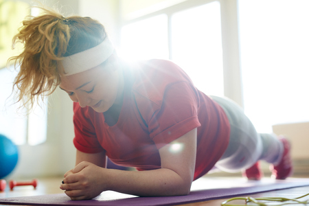 Hard Plank Exercise for Obese Woman
