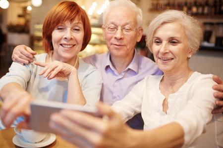 senior men: Selfie of seniors Stock Photo
