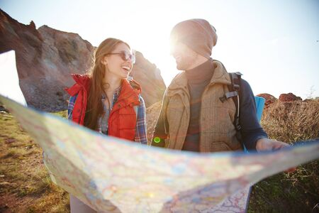 adventurers: Young Adventurers with Map Stock Photo