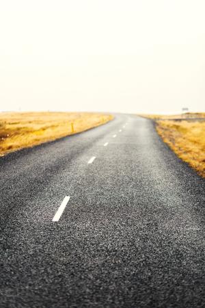 Leere Landstraße zwischen Feldern