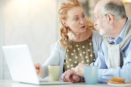 retirees: Couple of Modern Retirees Using Laptop