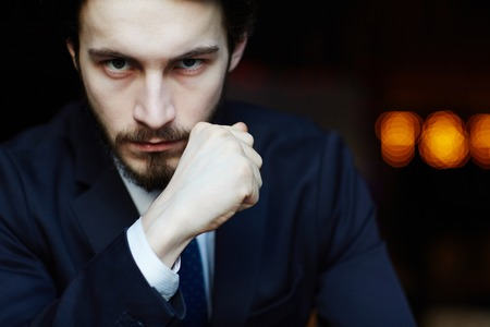 Portrait of Strong-Willed Elegant Man Stock Photo