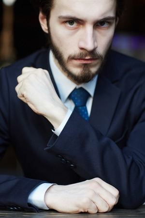 Portrait of Powerful Man in Suit Stock Photo