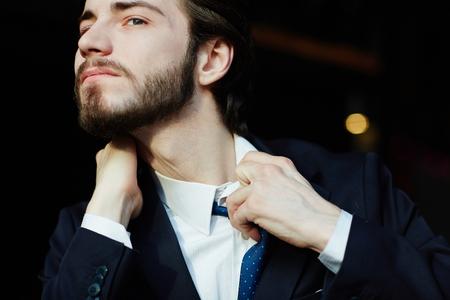 suffocating: Panicking Businessman in Stress