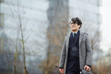 Young Smiling  Businessman in Snowfall