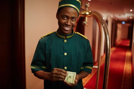 doorkeeper: Hotel worker Stock Photo