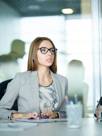 Modern Businesswoman in Meeting Stock Photo
