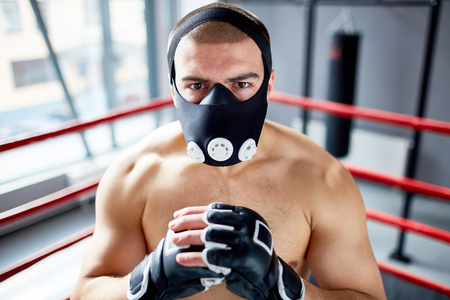 Strong Boxer Wearing Endurance Mask