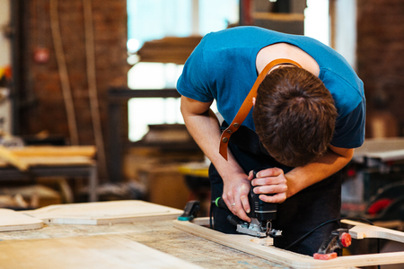 Woodworking Shop in Factory Stock Photo