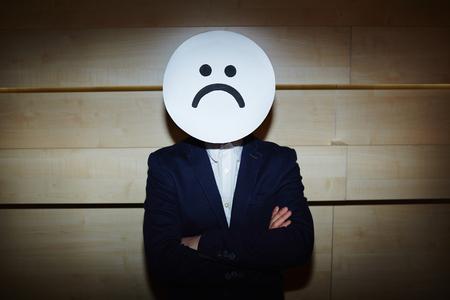 waistup: Businessman in Sad Mask