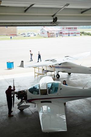 Airport Maintenance Hangar Stock Photo