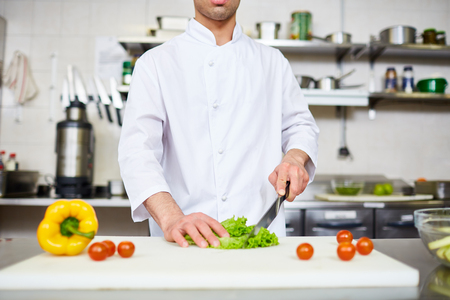 Chef carrying out master-class of cooking healthy food