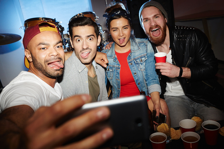 Friends Taking Crazy Selfie at Awesome Night Club Party