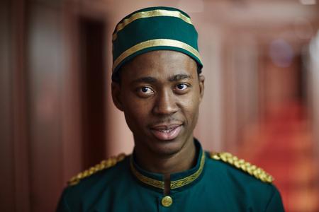 bellboy: Welcoming African Bellboy in Hotel