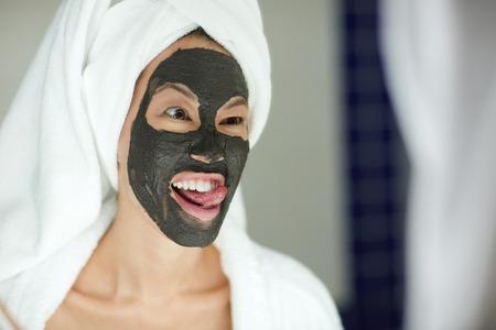 replenishing: Woman Having Fun in Bathroom during Beauty Routine