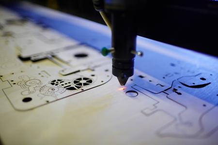Laser Cutting Machine in Workshop Foto de archivo