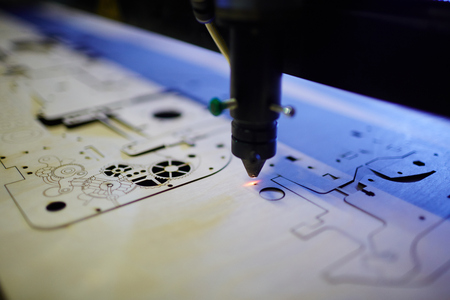 Laser Cutting Machine in Workshop Archivio Fotografico