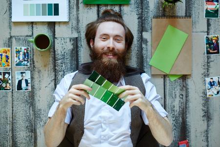 polygraphic: Bearded Trendy Artist in Design Studio Stock Photo
