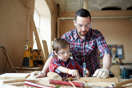 Learning to woodwork Stock Photo