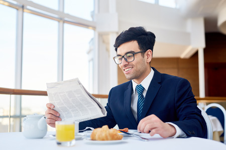 Breakfast of businessman Stock Photo