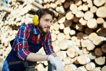 Pensive tree-service worker Stock Photo