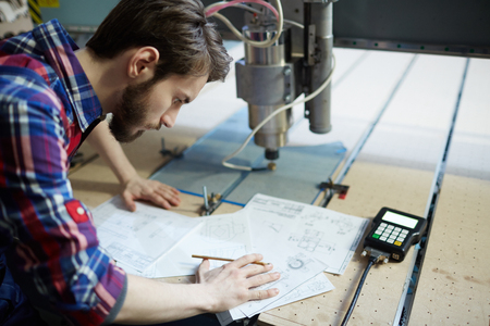 Engineer sketching Stockfoto