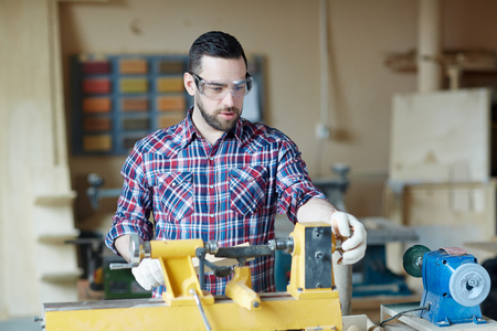 Man in workshop Stock Photo