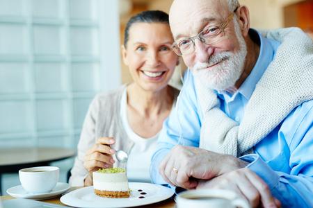 Senior couple in cafe Stock Photo