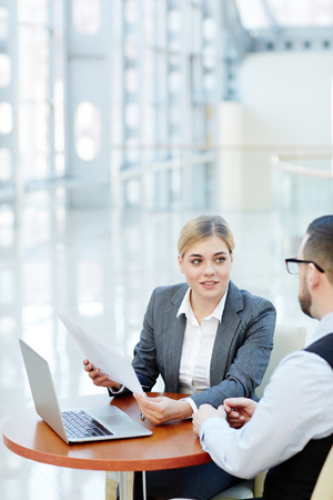 Smiling Businesswoman  Meeting with Partner