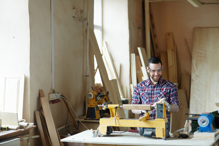 Man woodworking Stock Photo