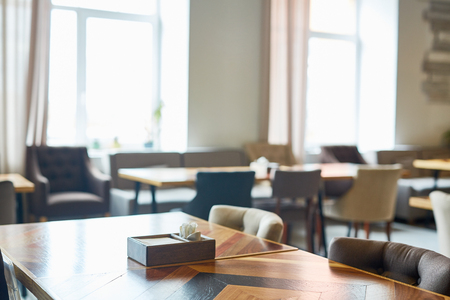 Empty table in premium class restaurant Stock Photo