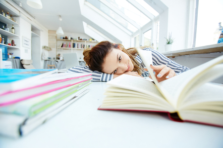 Uneasy learning Stock Photo