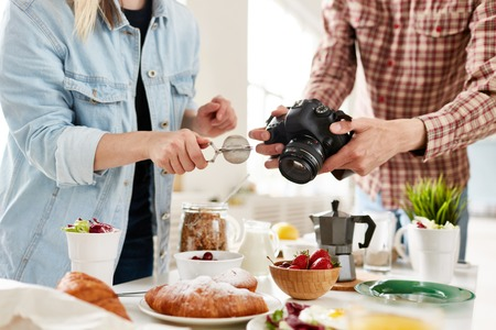 Food-photographer and food-stylist producing food advert