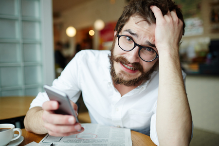 Feeling anxiety after received text message Stock Photo - 83220204