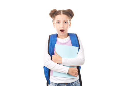 Elementary student with backpack posing against white background