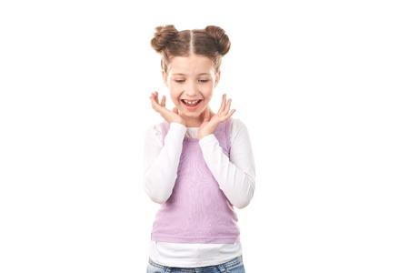 白い背景に、髪パンの美しい少女の肖像画 写真素材