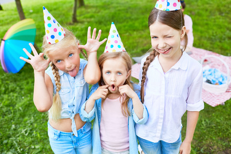 Funny girls picnic for birthday celebration
